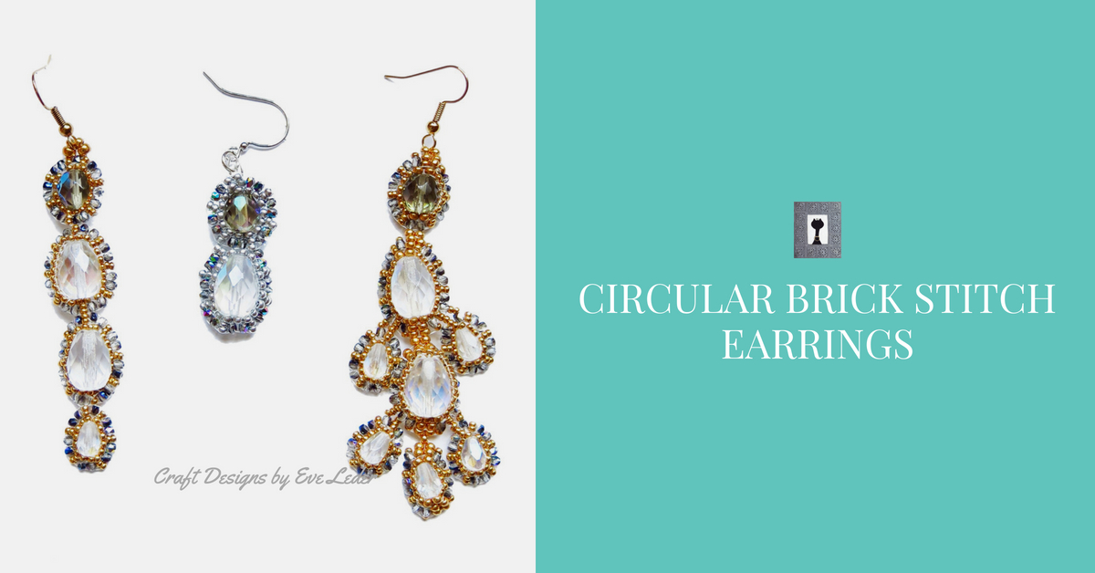 blue circular brick stitch earrings diva ridge designs